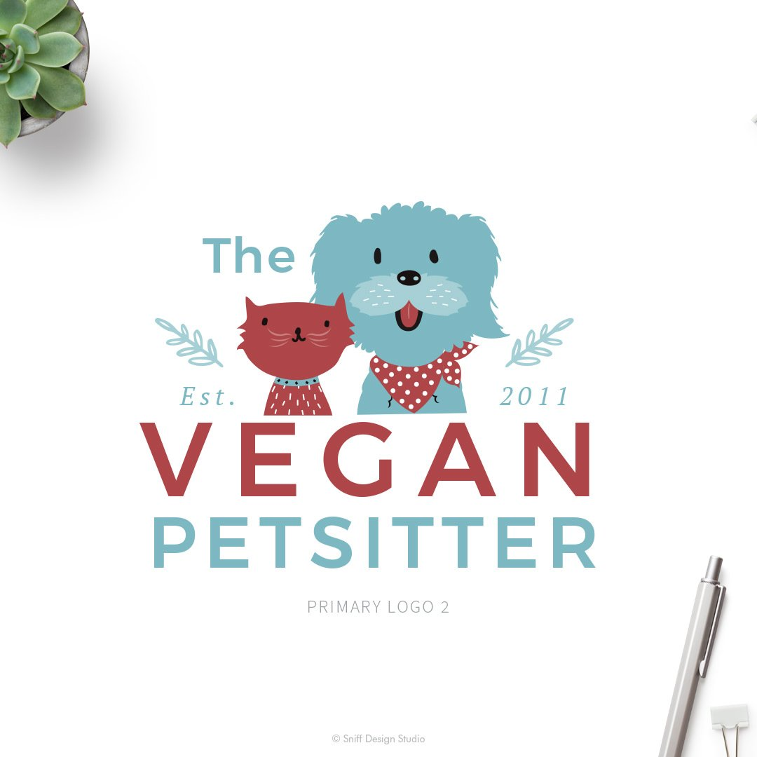 The Vegan Pet Sitter Primary Logo Design  #2 by Sniff Design Studio