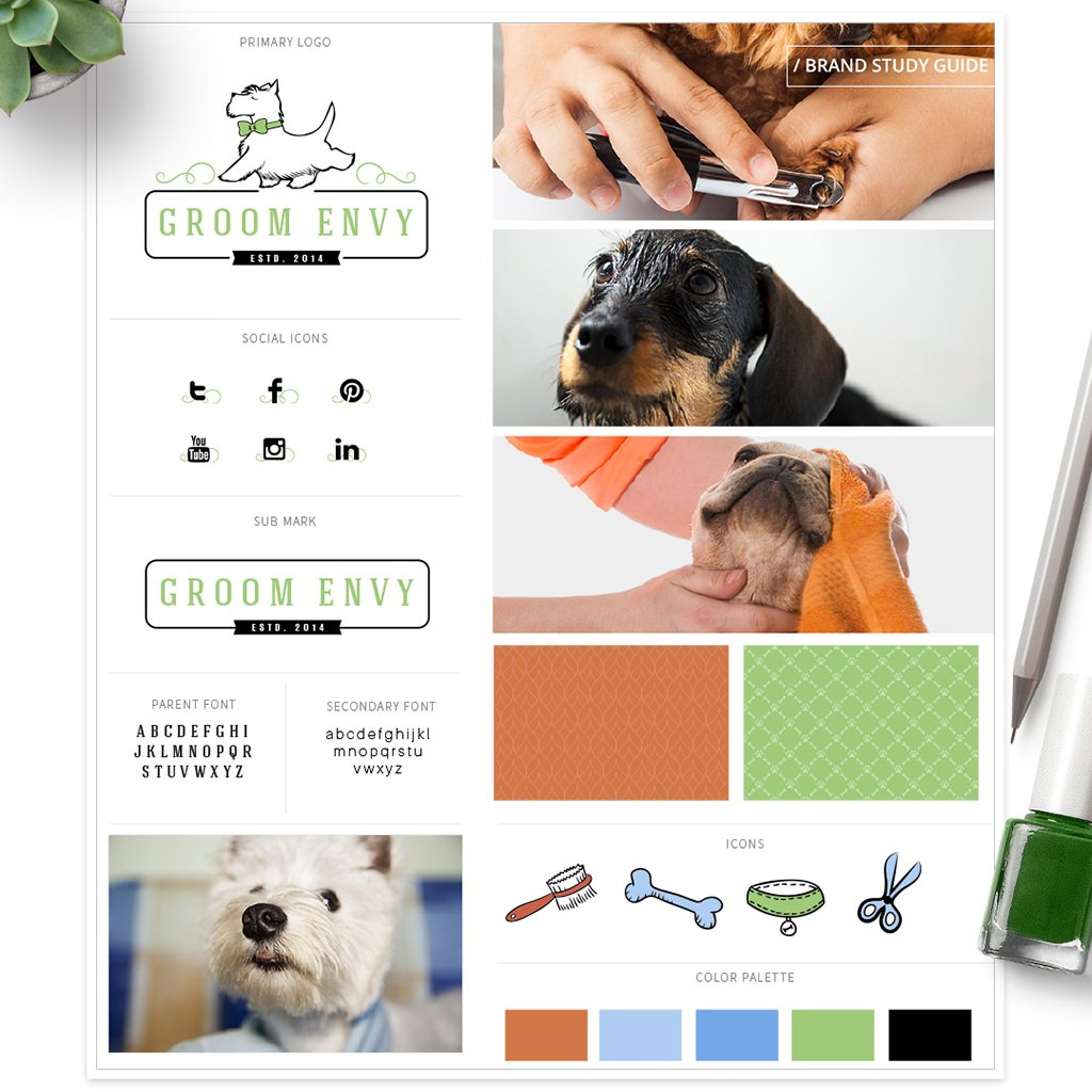 Groom Envy pet business brand study guide by Sniff Design Studio