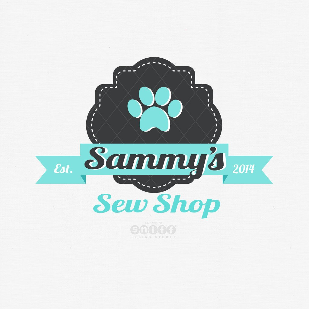 Sammy Sew Shop Pet Business logo design by Sniff Design Studio