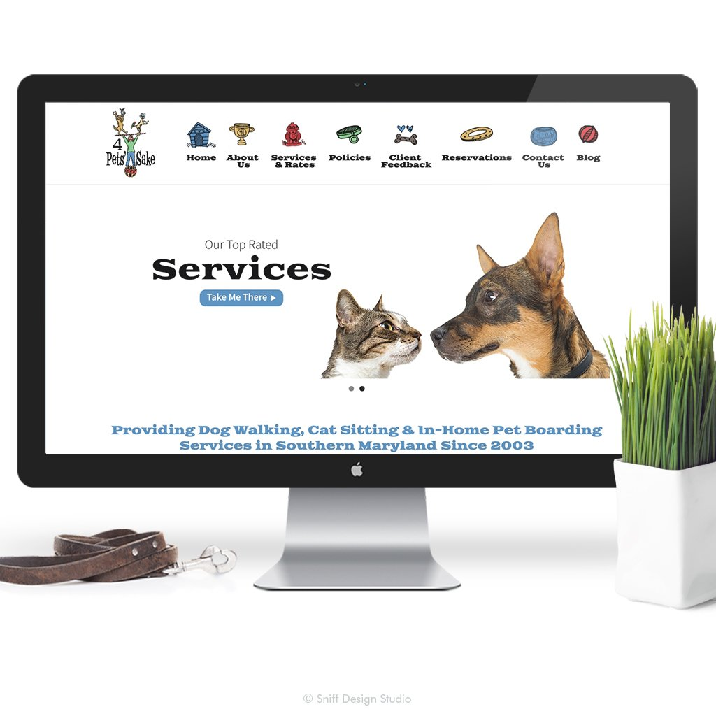 New Pet Business Website-Design-for 4 Pet's Sake Pet Sitting by Sniff Design Studio