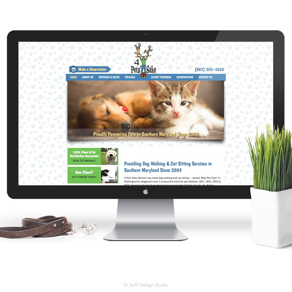 Old Pet Business Website-Design-for 4 Pet's Sake Pet Sitting by Sniff Design Studio