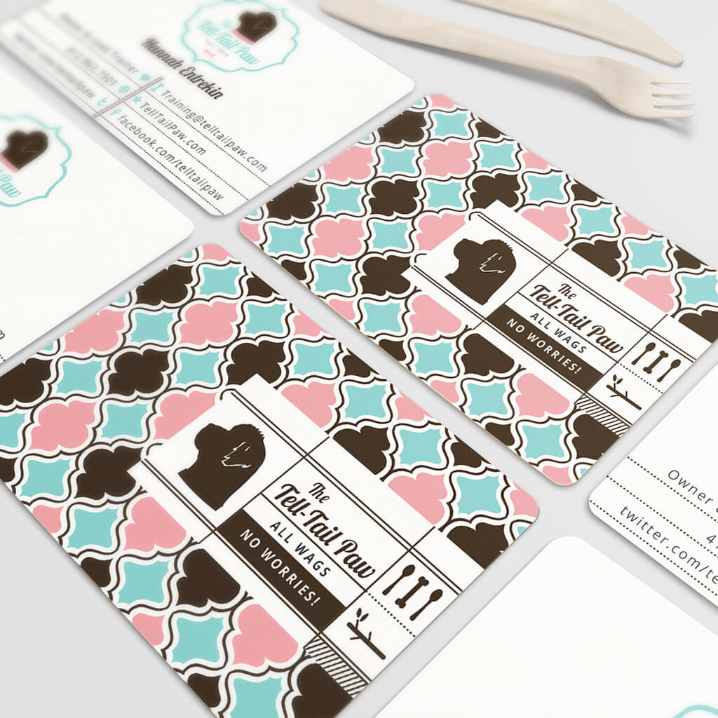 The Tell Tail Paw Dog Training and Bakery Business Card Design by Sniff Design Studio