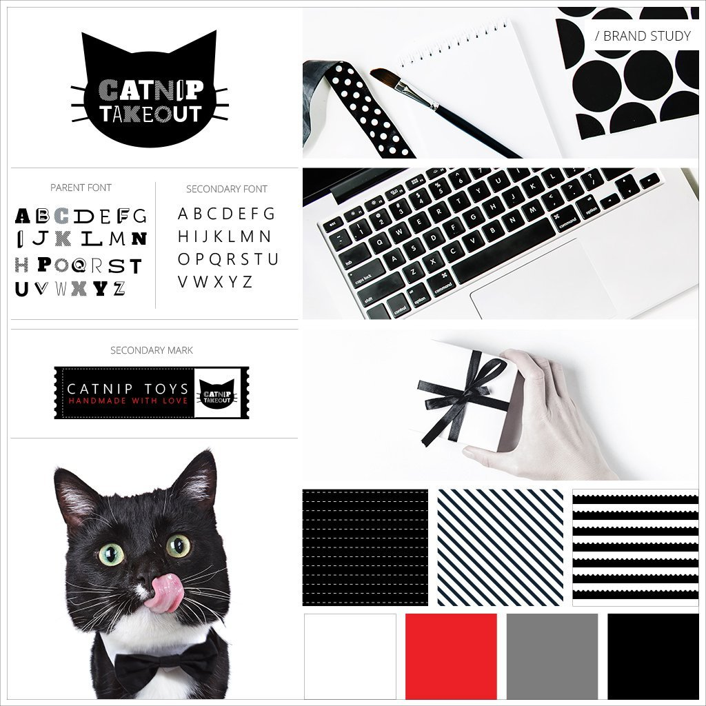 Catnip Takeout Cat Toy Pet Business Brand Study Mood Board by Sniff Design Studio