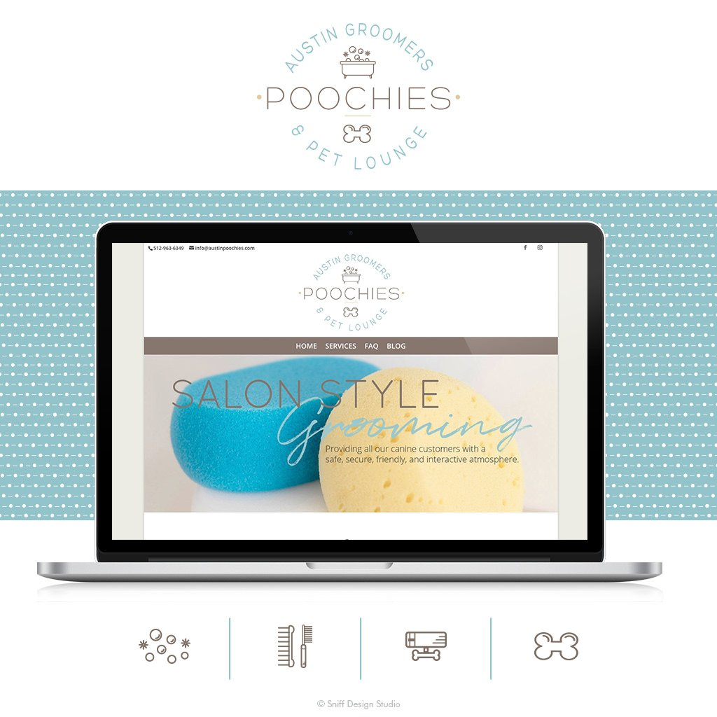 Poochies Austin Groomers and Pet Lounge Web Site Design by Sniff Design Studio