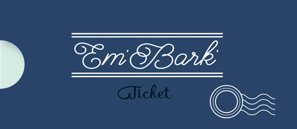 Em' Bark Ticket - Classic Template Style - PET PASSPORT program for done-for-you branded monthly pet social media graphics for pet businesses by Sniff Design Studio