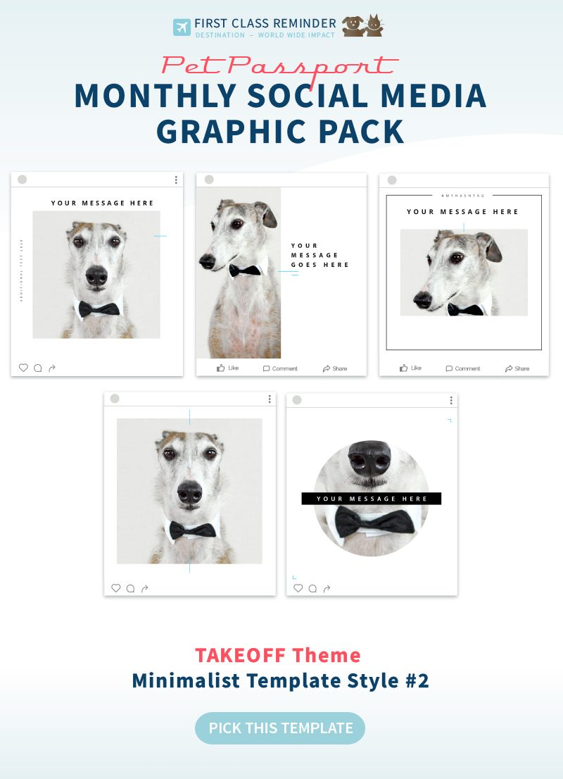 TAKEOFF theme minimalist template style 2 for Monthly Pet Business Social Media Graphics Program by Sniff Design Studio