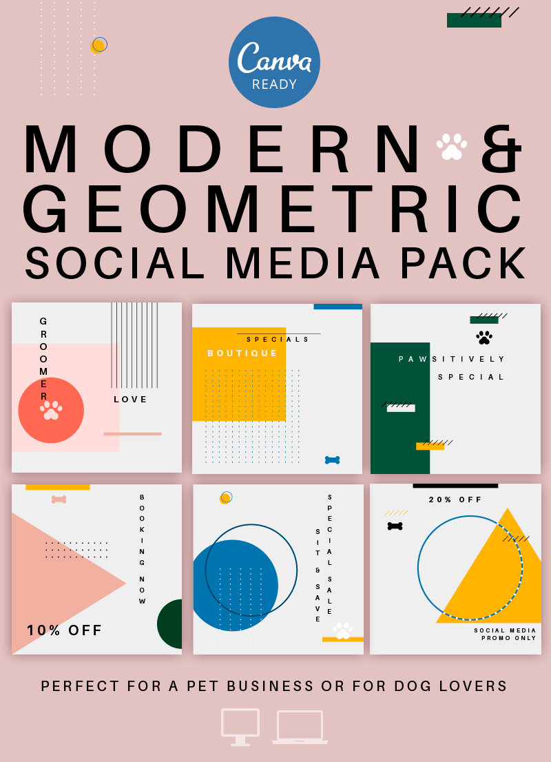 Feature Image For Modern Geometric Pet Business Social Media Graphic Pack that is also Canva friendly.