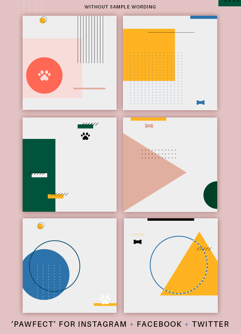 4th feature image for Modern Geometric Pet Social Media Pack for sale by Sniff Design Studio