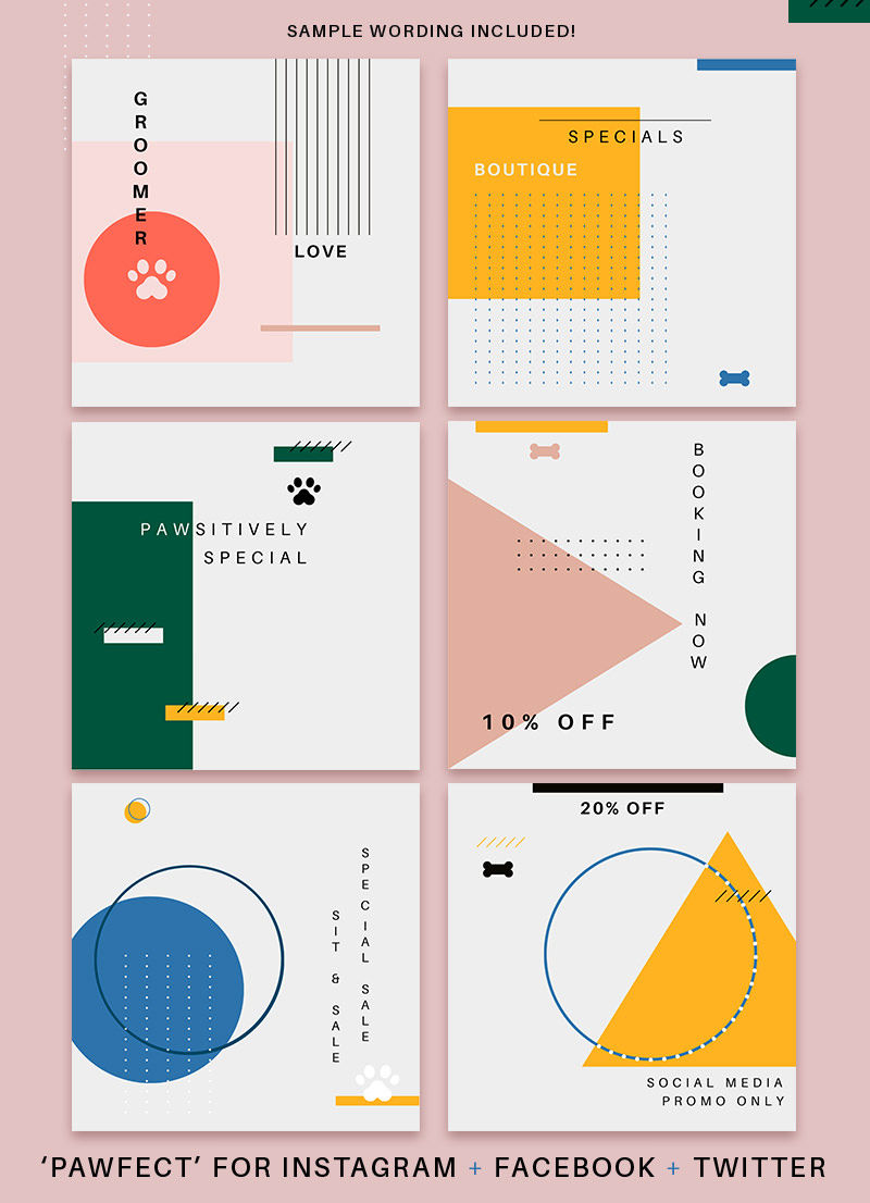 Modern Geometric Canva Template Social Media Pack and Holiday Designs by Sniff Design Studio