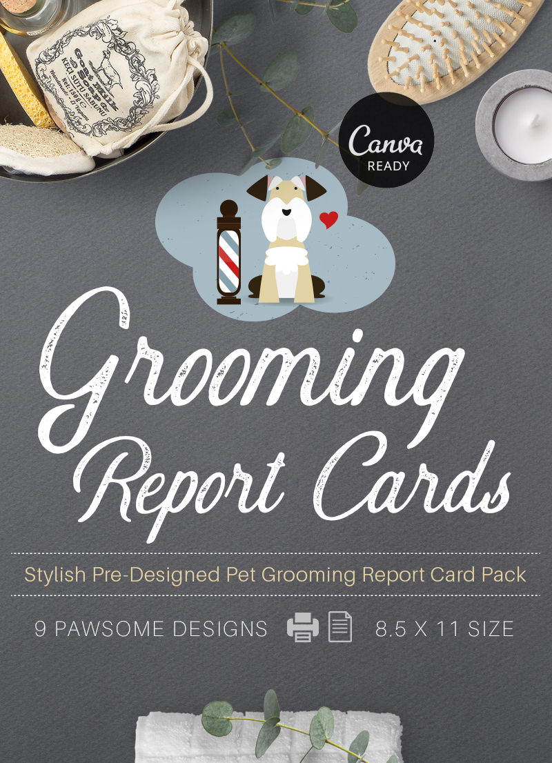 Stylish Pet Grooming Report Card Pack for sale by Sniff Design Studio