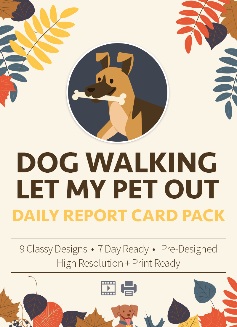 Dog walking let my pet out pet report card pack for sale by sniff design studio