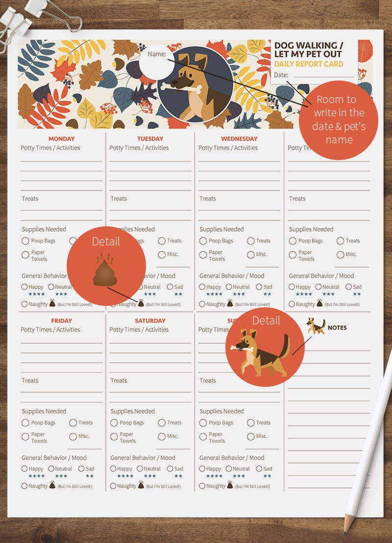 dog walking let my pet out pet report card pack by sniff design studio