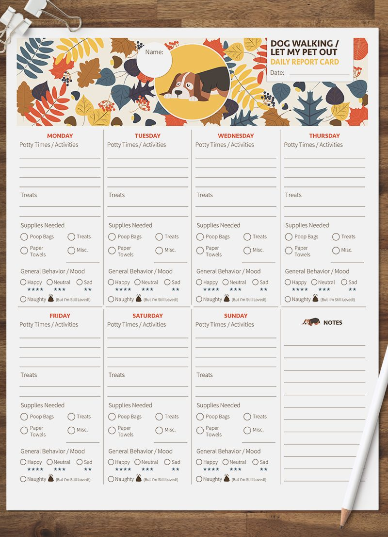 dog walking let my pet out daily pet report card pack starring a Bassett hound dog by sniff design studio