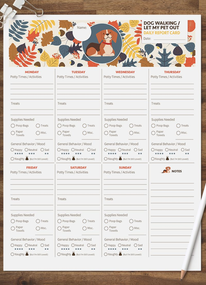 dog walking let my pet out daily pet report card pack starring a little beagle dog by sniff design studio