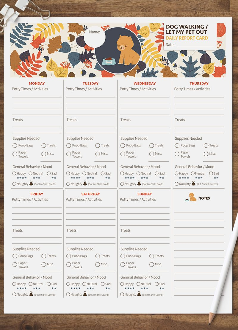 dog walking let my pet out daily pet report card pack starring a little bichon frise dog by sniff design studio
