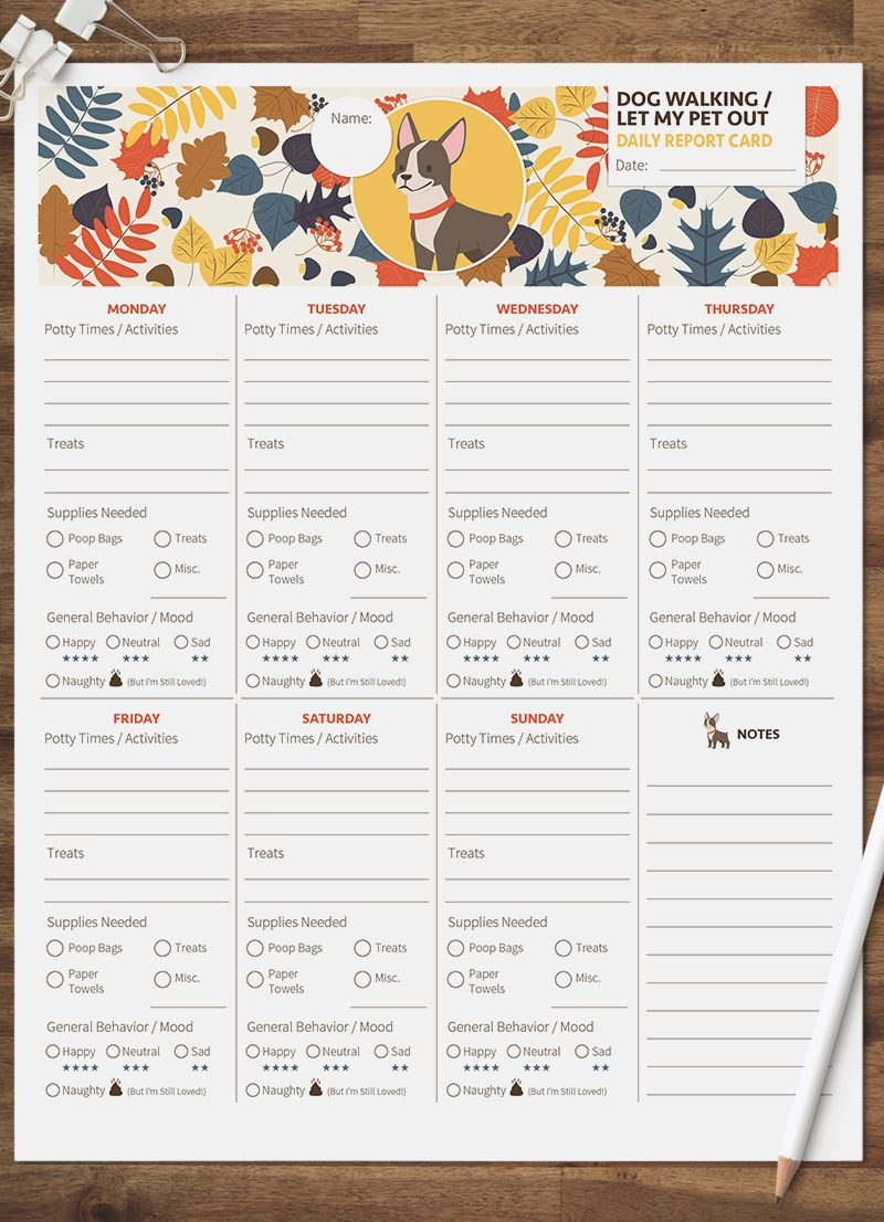 dog walking let my pet out daily pet report card pack starring a little bull terrier dog by sniff design studio