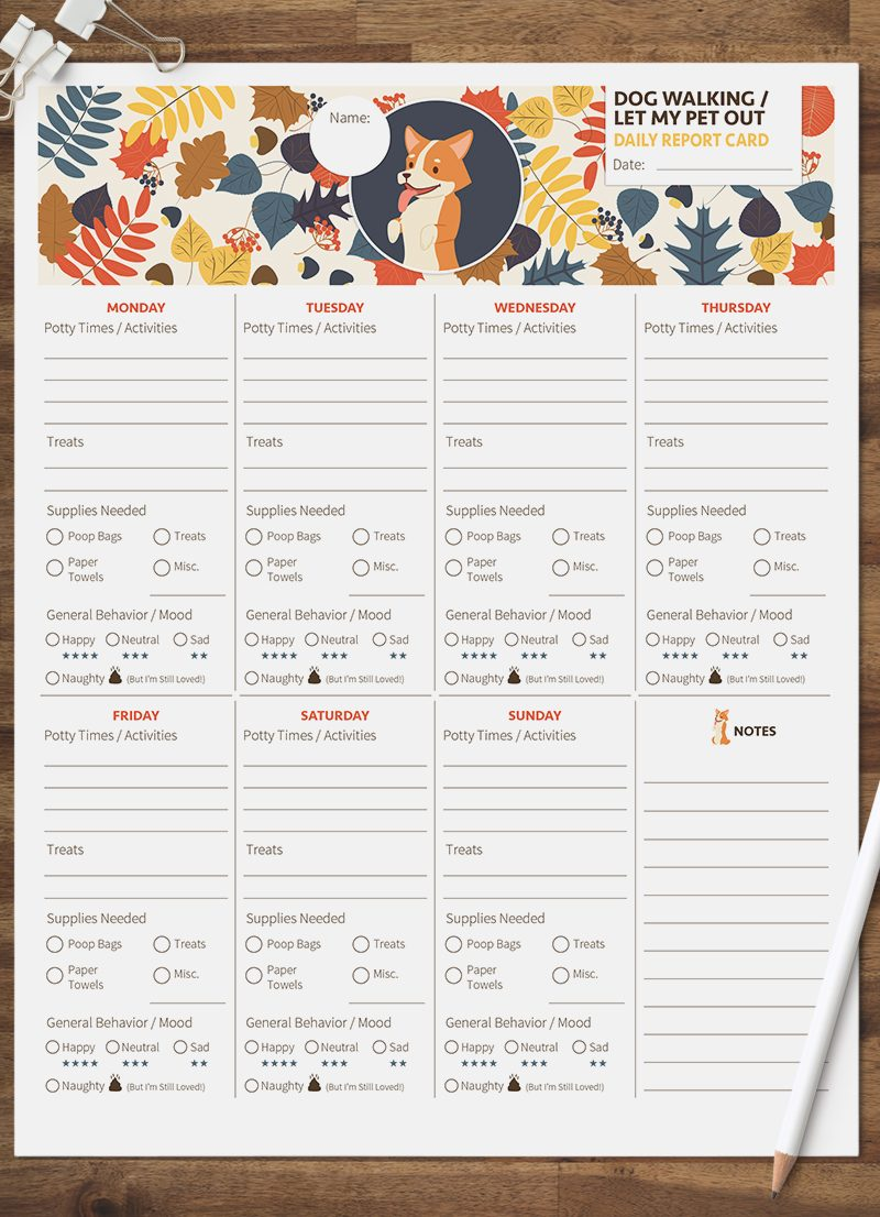 dog walking let my pet out daily pet report card pack starring a little corgi dog by sniff design studio