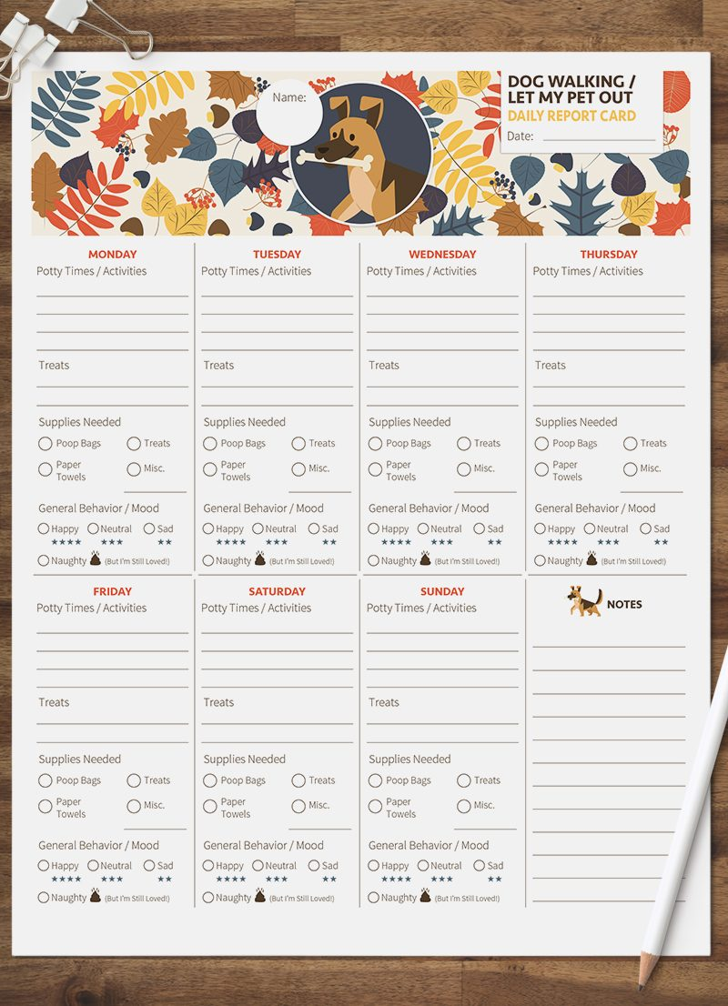 dog walking let my pet out daily pet report card pack starring a little German Shepard dog by sniff design studio