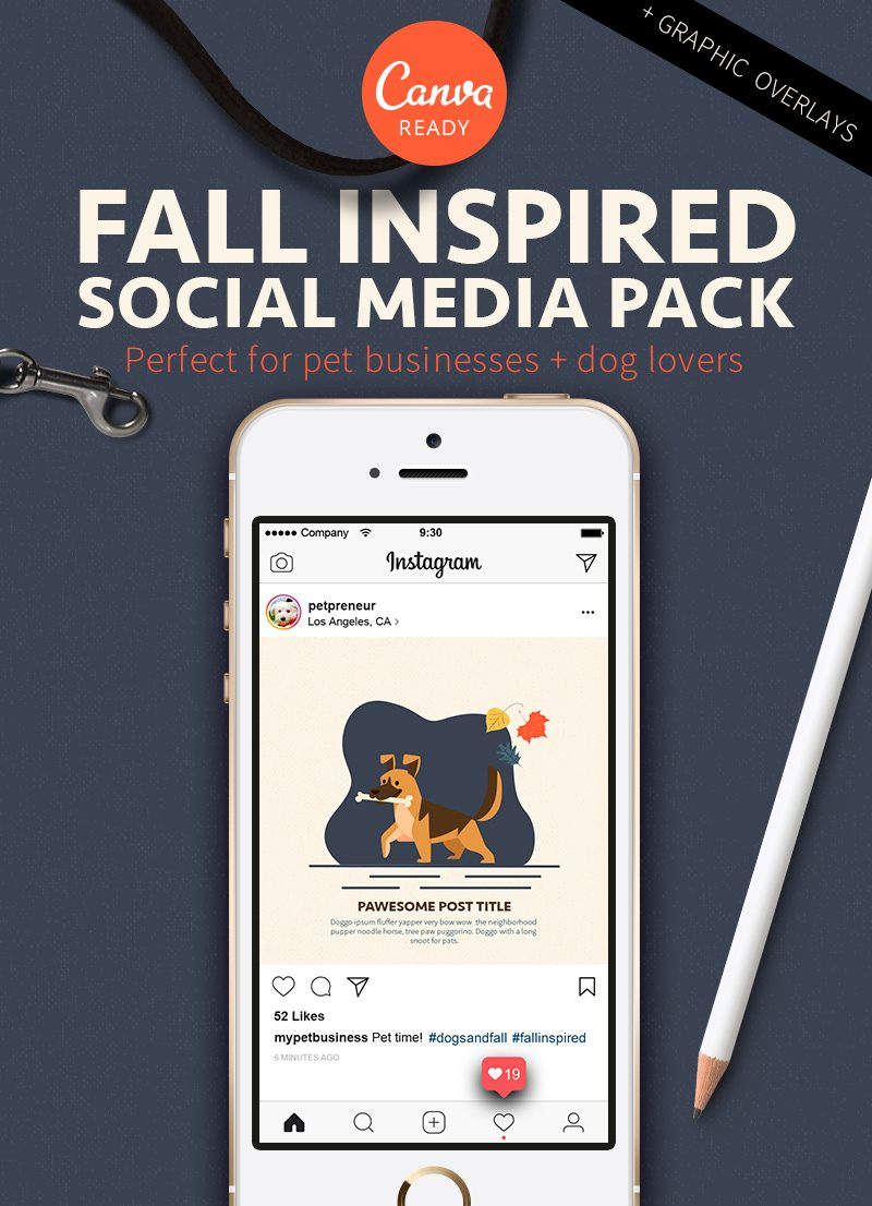 feature image for fall inspired pet business friendly social media graphics pack by Sniff Design Studio
