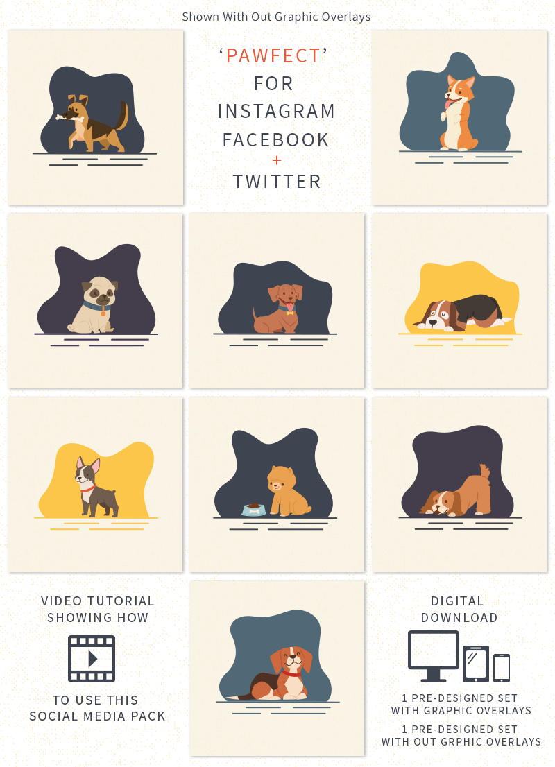 Fall inspired pet business friendly social media graphics pack by Sniff Design Studio