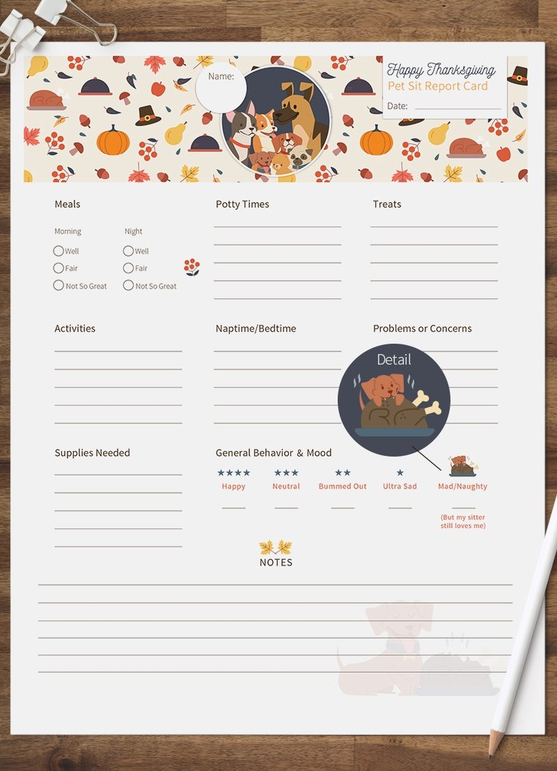 Thanksgiving Pet Business Design Kit that includes 2 Pet Sitting Report Cards and 3 Pet Social Media Graphics by Sniff Design Studio 3