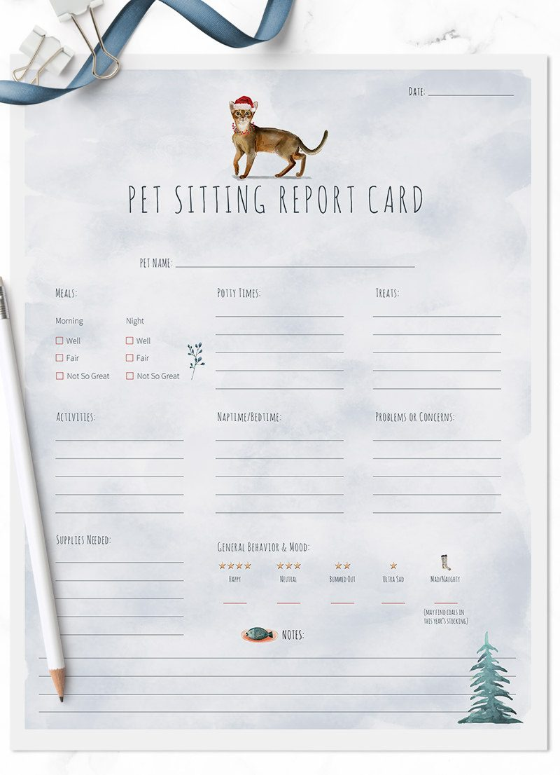 Christmas Holiday Abyssinian cat sitting pet report card pack for download by Sniff Design Studio