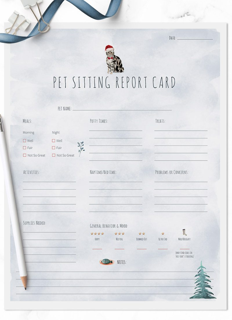 Christmas Holiday American Shorthair cat sitting pet report card pack for download by Sniff Design Studio