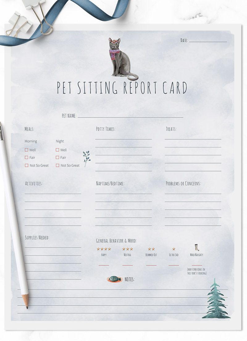 Christmas Holiday Blue Russian cat sitting pet report card pack for download by Sniff Design Studio