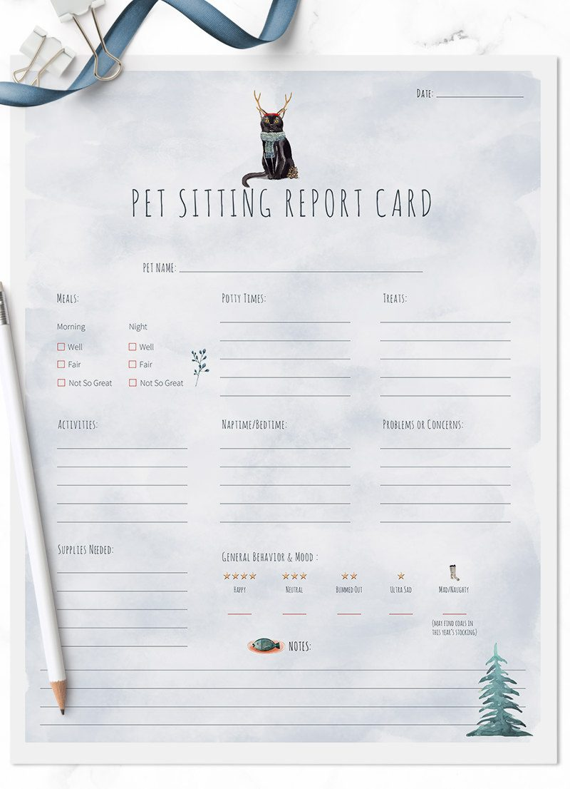 Christmas Holiday Bombay kitty cat sitting pet report card pack for download by Sniff Design Studio