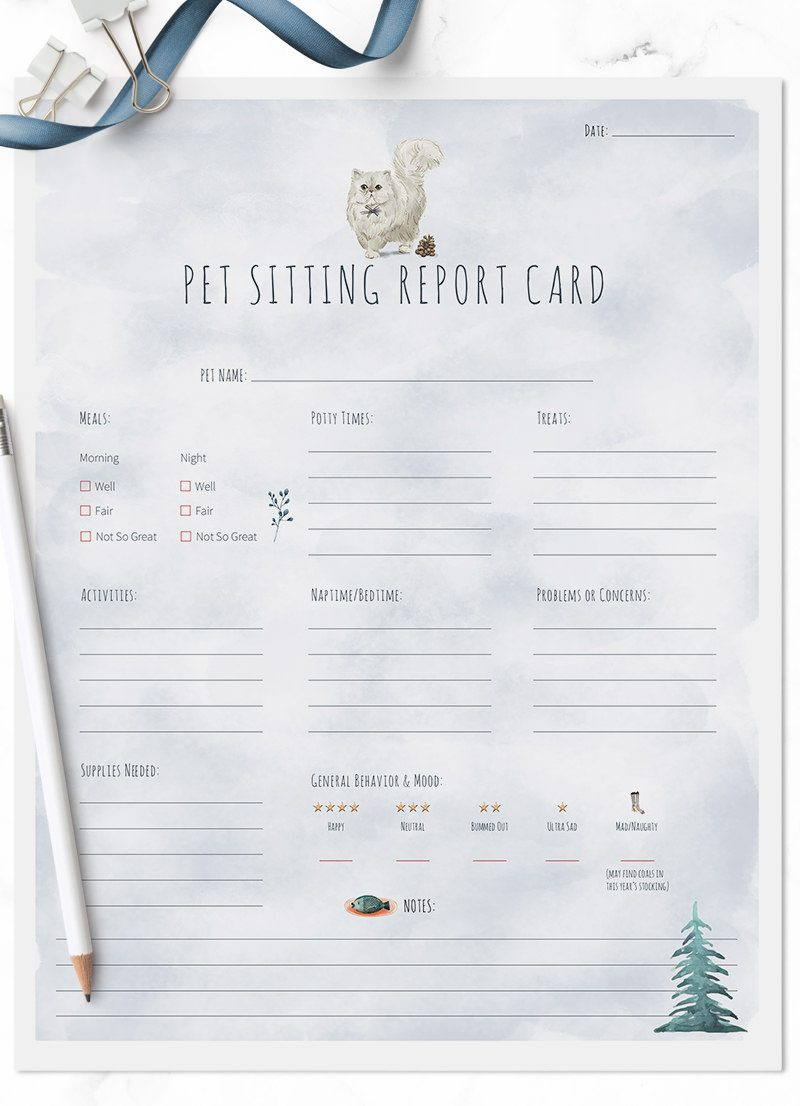 Christmas Holiday Persian cat sitting pet report card pack for download by Sniff Design Studio