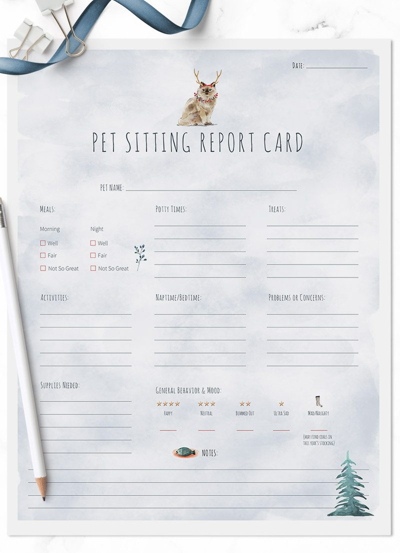 Christmas Holiday Ragdoll cat sitting pet report card pack for download by Sniff Design Studio