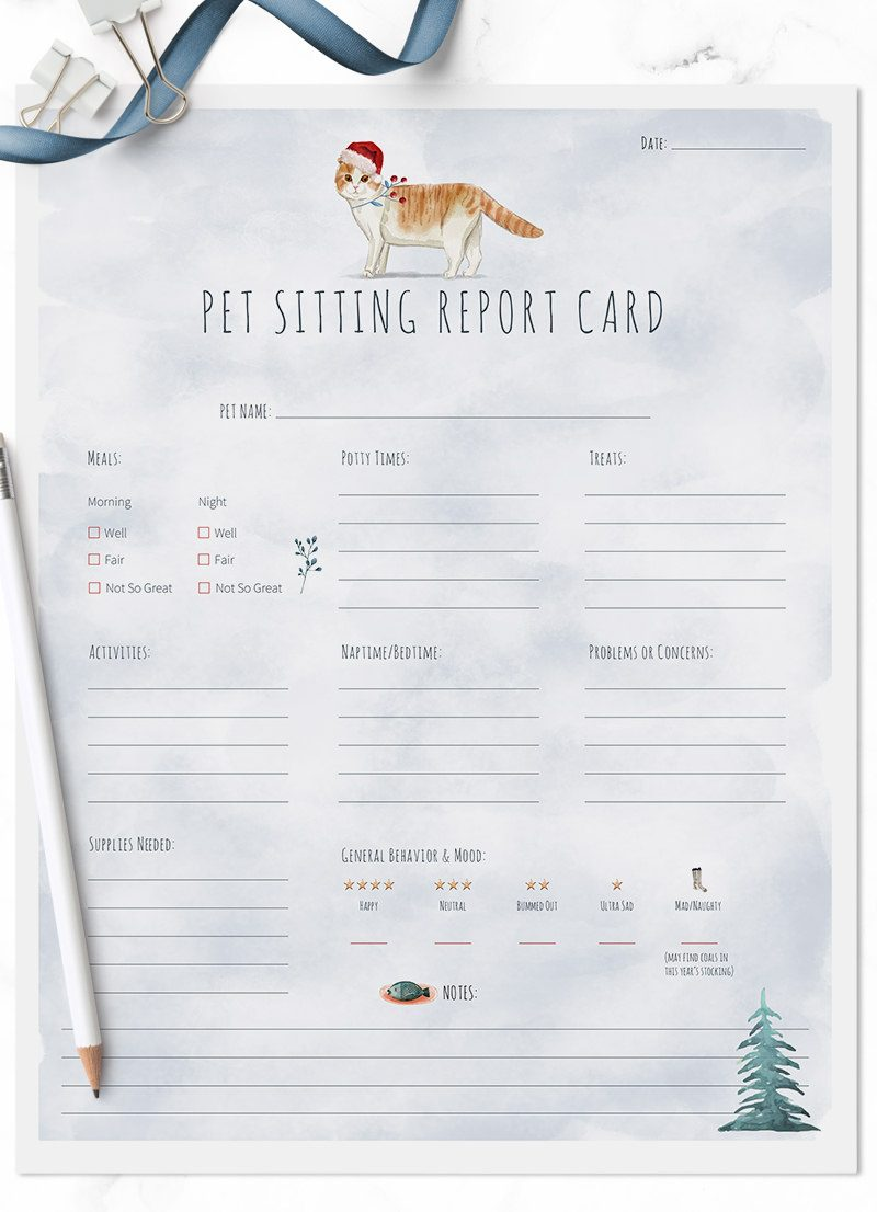Christmas Holiday Scottish Fold cat sitting pet report card pack for download by Sniff Design Studio
