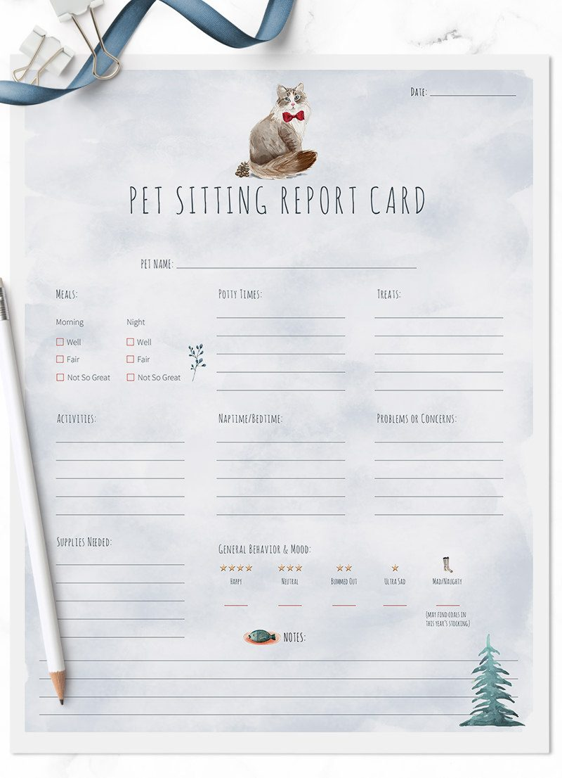 Christmas Holiday Siberian cat sitting pet report card pack for download by Sniff Design Studio