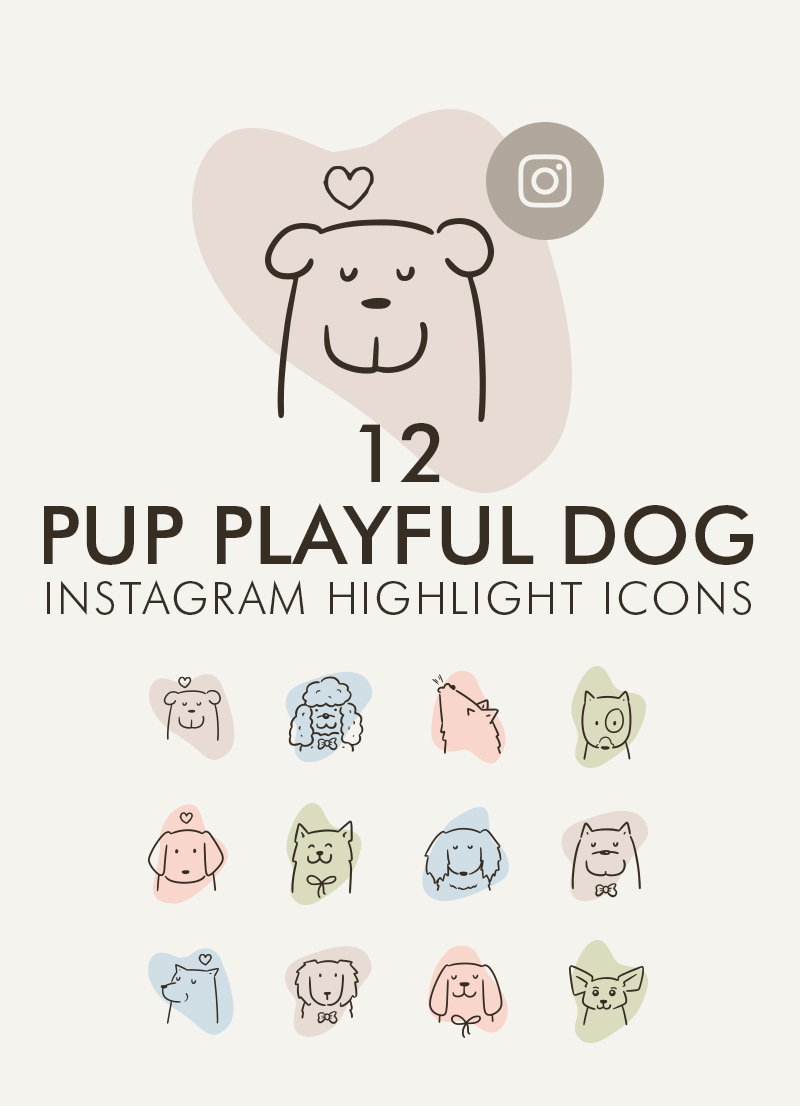 12 Pup Playful Dog Instagram Highlight Icon Cover Set for sales by Sniff Design Studio
