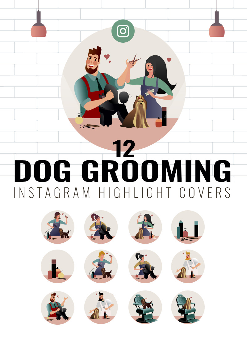 12 Dog grooming Instagram highlight Cover Set for sale by Sniff Design Studio