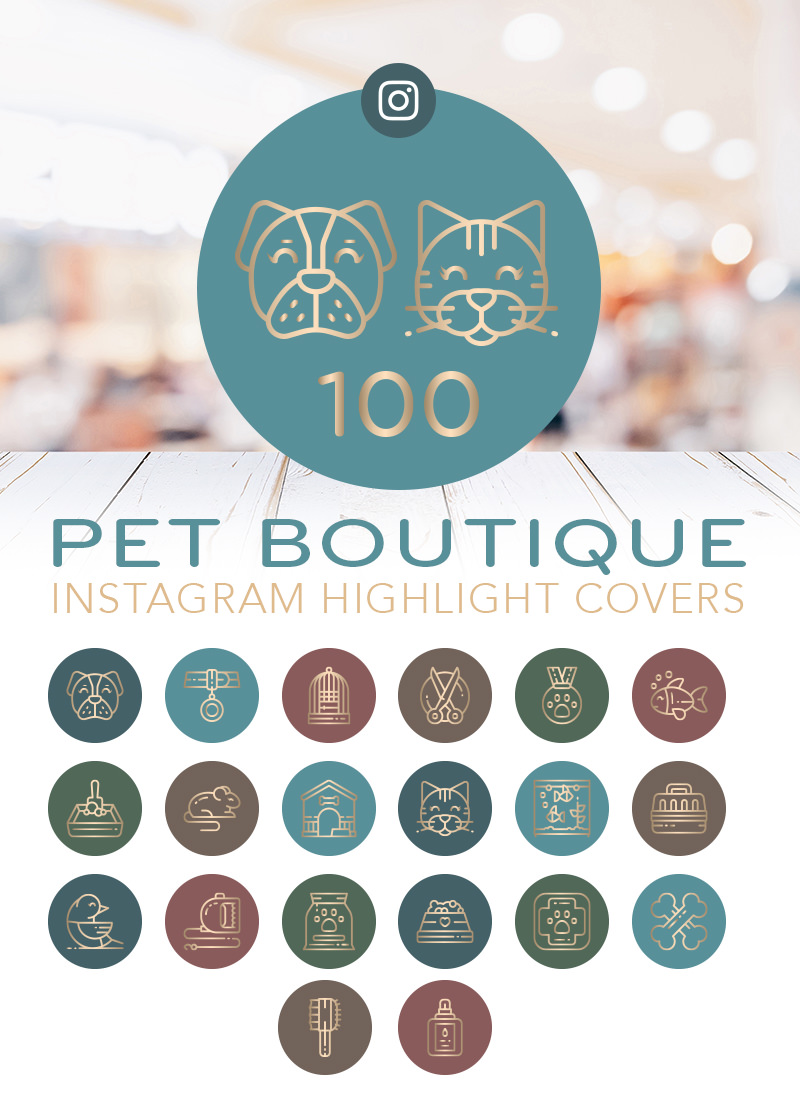 100 Pet Boutique Inspired Pet Instagram Highlight Cover Set for sale by Sniff Design Studio