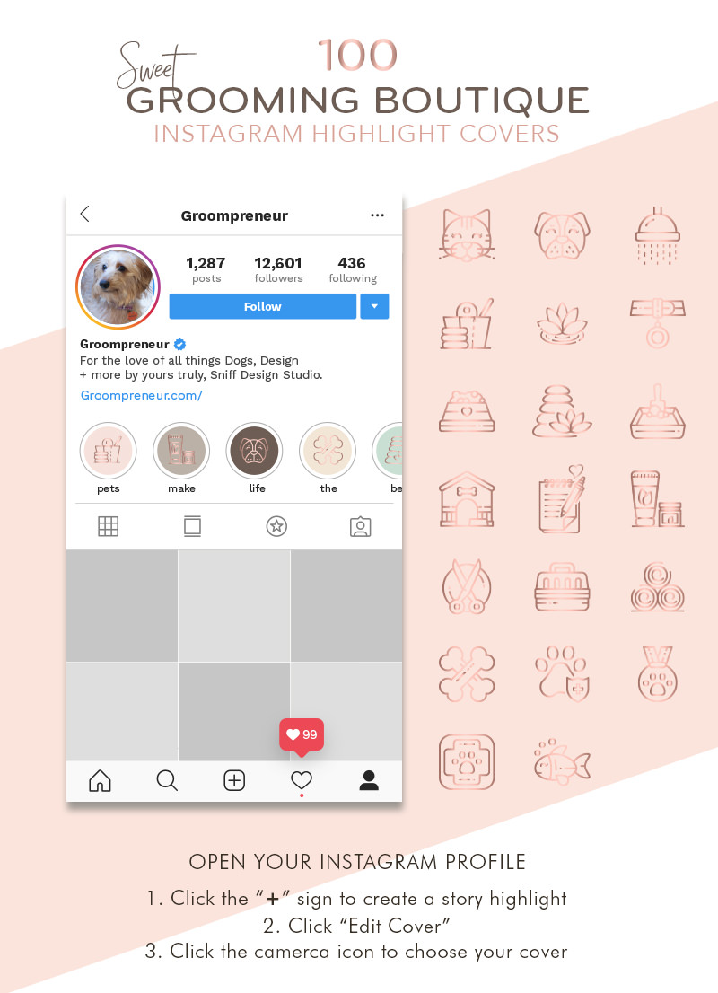 Sweet Pet Grooming Boutique Rose Gold Instagram Highlight Covers for sale by Sniff Design Studio