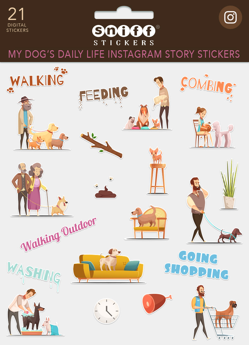 My Dog's Daily Life Instagram Story Sticker Set for sale by Sniff Design Studio