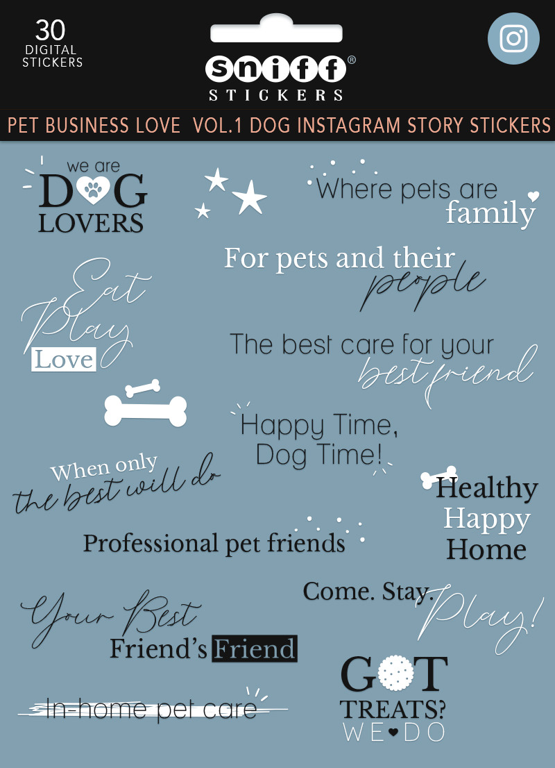 Pet business love vol. 1 dog instagram story sticker set for sale by Sniff Design Studio