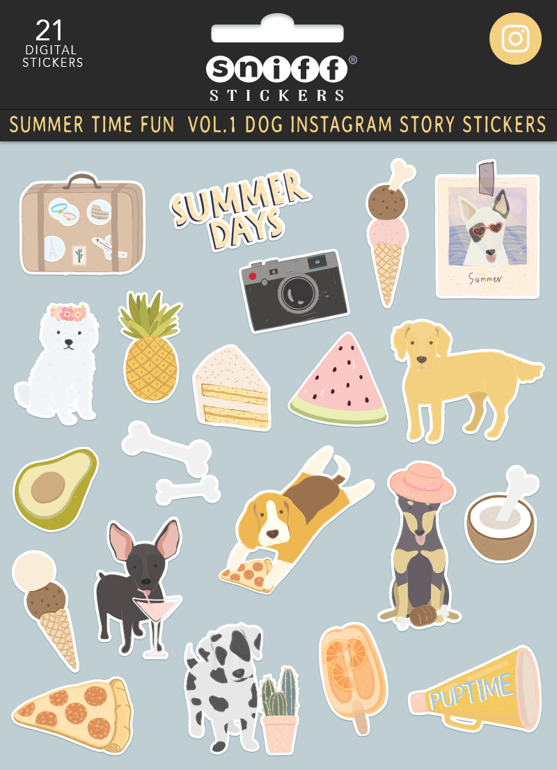 Summer Time Fun Vol. 1 Dog Instagram Story Sticker Pet Set by Sniff Design Studio