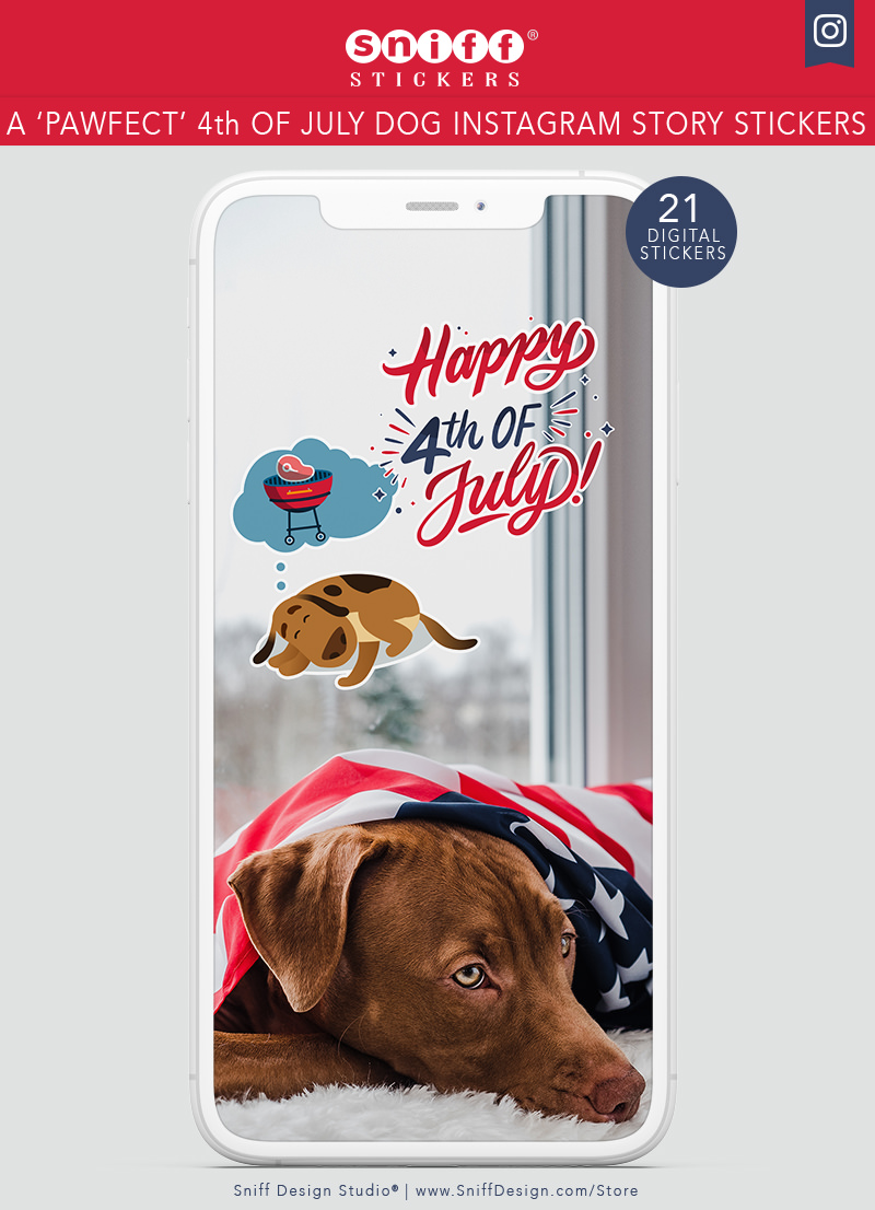 A Pawfect 4th of July Dog Instagram Story Sticker Set for sale by Sniff Design Studio