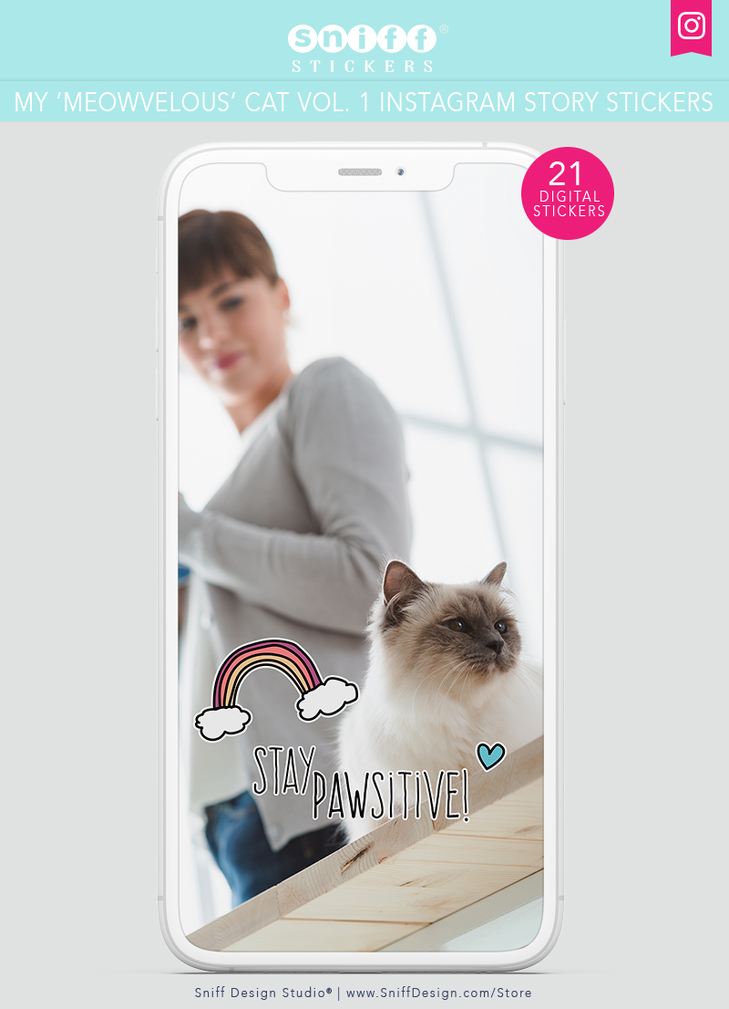 My Meowvelous Cat Vol. 1 Cat Instagram Story Sticker Pack by Sniff Design Studio 2