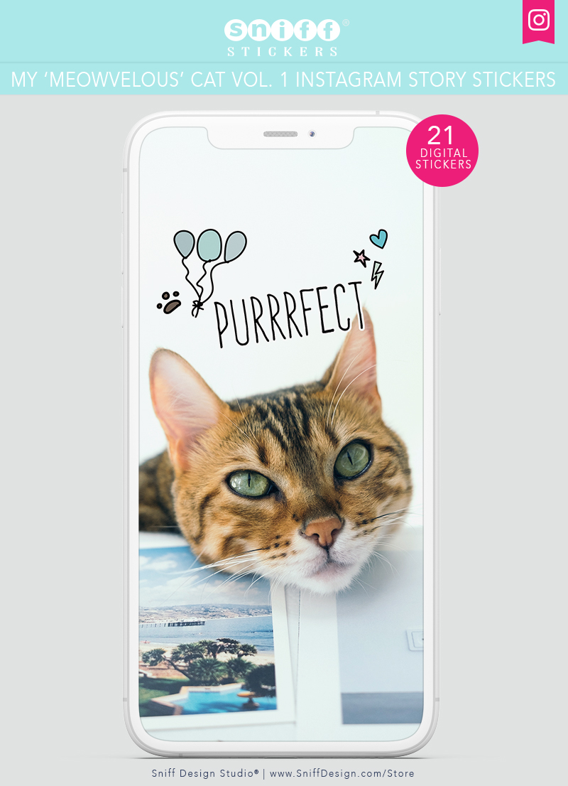 My Meowvelous Cat Vol. 1 Cat Instagram Story Sticker Pack by Sniff Design Studio 3