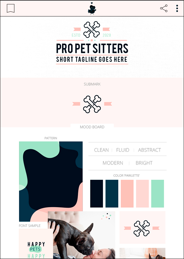 Professional Pet Sitting - Premade Pet Business Branding Kit For Sale by Sniff Design Basics. Sister company of Sniff Design Studio