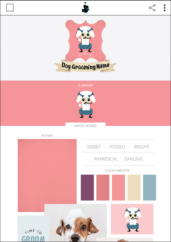 Darla Dog Grooming - Premade Pet Business Branding Kit For Sale by Sniff Design Basics. Sister company of Sniff Design Studio