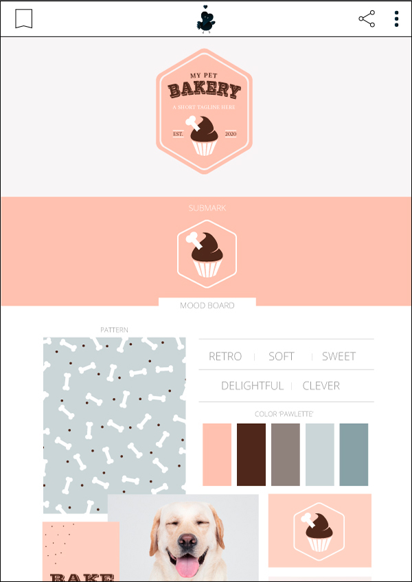 My Pet Bakery - Premade Pet Business Branding Kit For Sale by Sniff Design Basics. Sister company of Sniff Design Studio