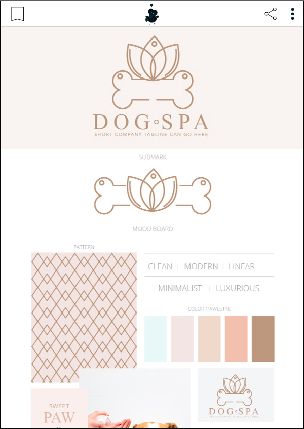 Calming Dog Spa - Premade Pet Business Branding Kit For Sale by Sniff Design Basics. Sister company of Sniff Design Studio