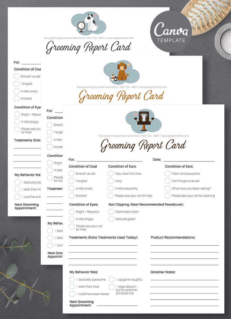 Pet Grooming Report Card Canva Template For Sale by Sniff Design Studio 4