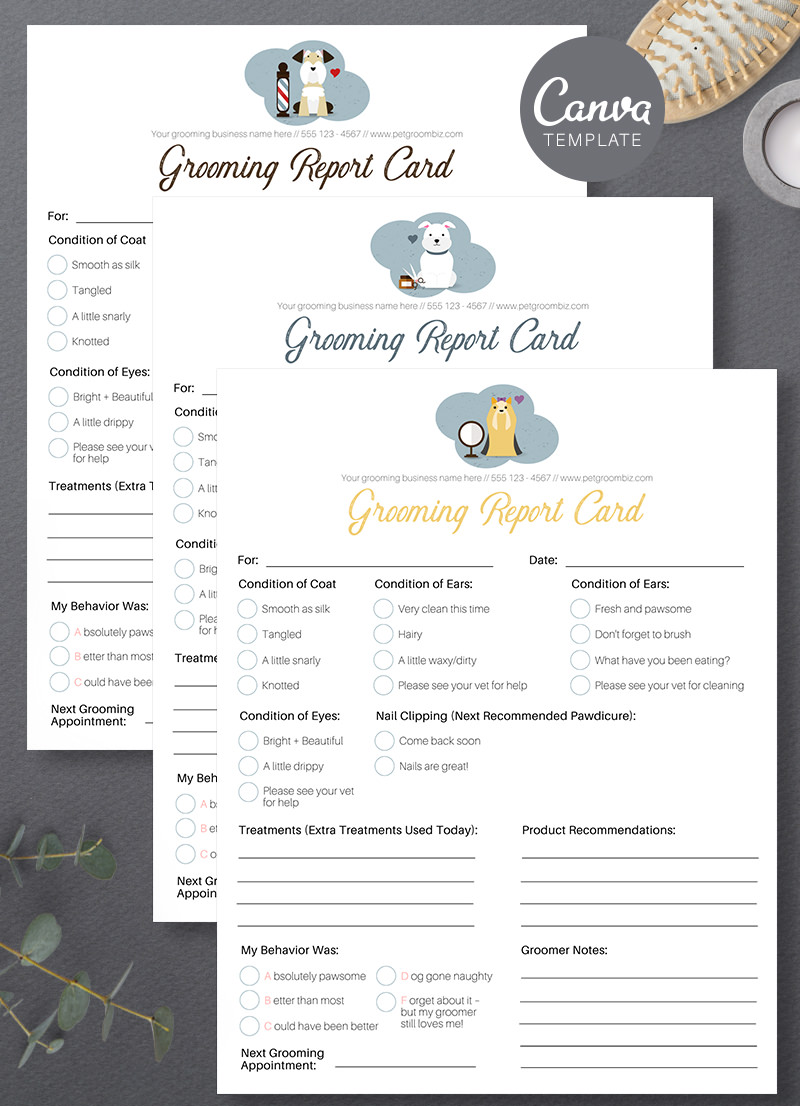 Pet Grooming Report Card Canva Template For Sale by Sniff Design Studio 5