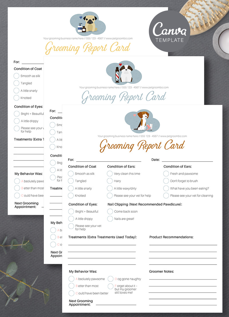 Pet Grooming Report Card Canva Template For Sale by Sniff Design Studio 6